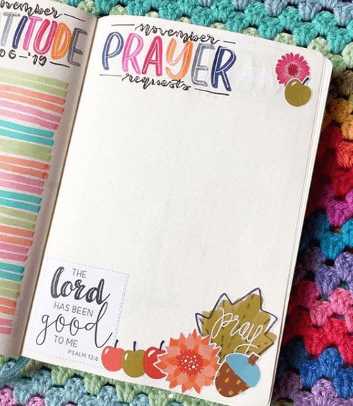 Collection des intentions de prières Bullet Journal chrétien