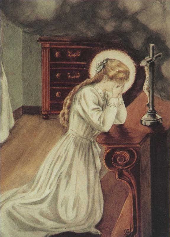 Thérèse de Lisieux pleurant et priant